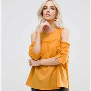 ASOS Petite Tops - NWOT Missguided Petite Cold Shoulder Smock Top